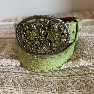 Ranger Belt Co green leather hand tooled belt